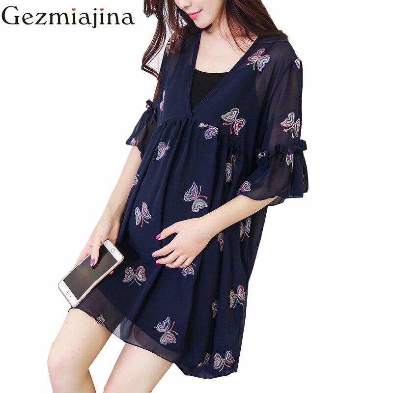 गर्भवती महिलाओं के कपड़े गर्मियों में पहनने कढ़ाई तितली मातृत्व पोशाक दो टुकड़े कम बाजू शिफॉन स्कर्ट + बनियान