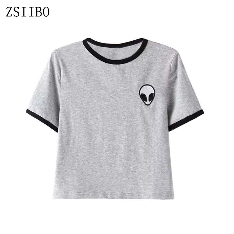 ZSIIBO NVTX10 alien printed clothes T-shirts for women tee shirt femme camisetas poleras de mujer tshirt female t shirts tops Одежда