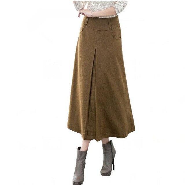 8518e553c € 23.09 5% de DESCUENTO|Europa y América Nueva falda de invierno 2018 otoño  moda mujer faldas largas de lana A line faldas de lana 5 colores ...