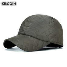 SILOQIN Mens Cap Autumn Winter Cotton Warm Baseball Caps With Earmuffs Thick Hat For Men Adjustable Size Brand