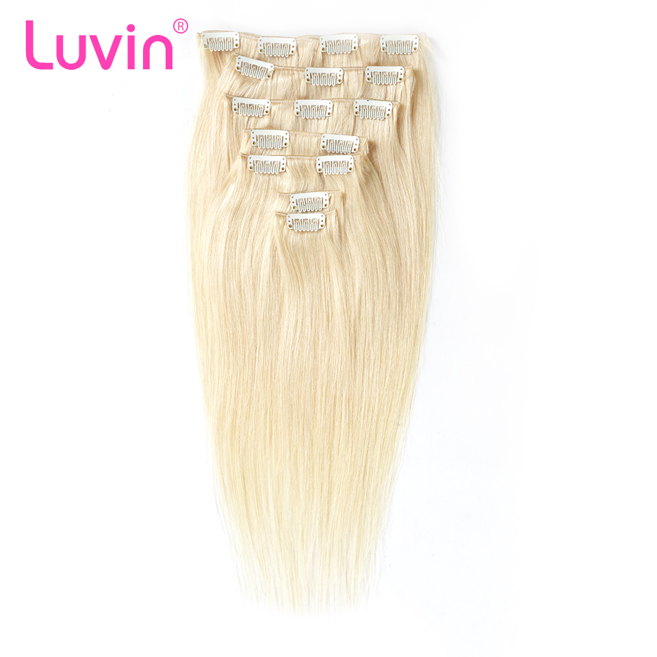 Luvin Clip In Human Hair Extensions 7 Pieces Color #1 #2 #4 #613 Brazilian Remy Hair Clip In Hair Full Head Set 100G Straight