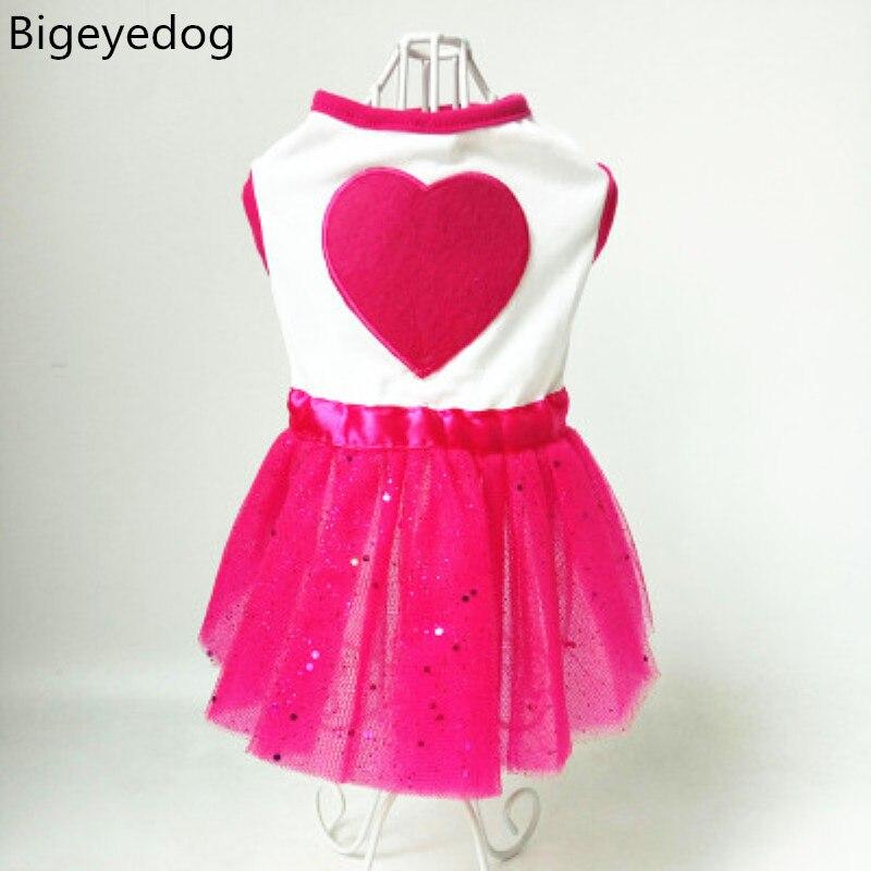 Bigeyedog perro ropa verano vestido grande del tutú del corazón ...