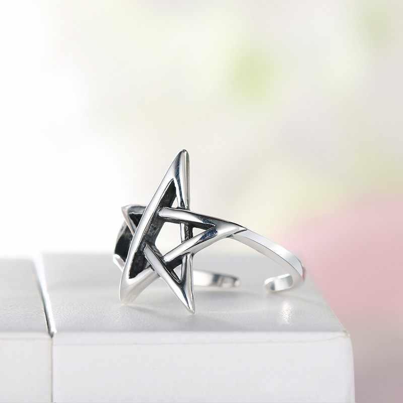 Оптовая продажа, кольца из стерлингового серебра 925 пробы, большая звезда Давида, для женщин, регулируемый размер, кольцо, женское бохо, ювелирное изделие, ювелирное изделие, плата