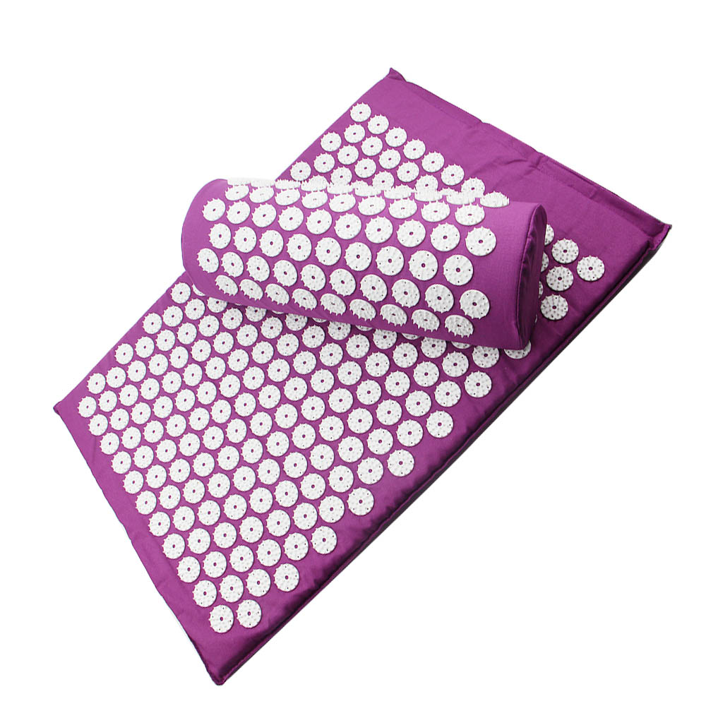 Massage For Back Cushion Mat Acupressure Body Relieve Stress Pain Health Care Yoga With Pillow