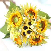 1 Bouquet Home Party Decor Display Artificial Silk Flower Simulation Sunflower DIY artificial flowers 7 flower
