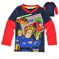 Акция!! новый 2016 пожарный сэм одежда мальчики с длинным рукавом дети дети ребенок весна осень 100% хлопок мальчика футболка