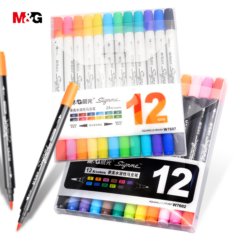 M&G official two head watercolor brush marker pens for drawing colored felts art marker liner pen school supplies art stationery touchnew 60 colors artist dual head sketch markers for manga marker school drawing marker pen design supplies 5type