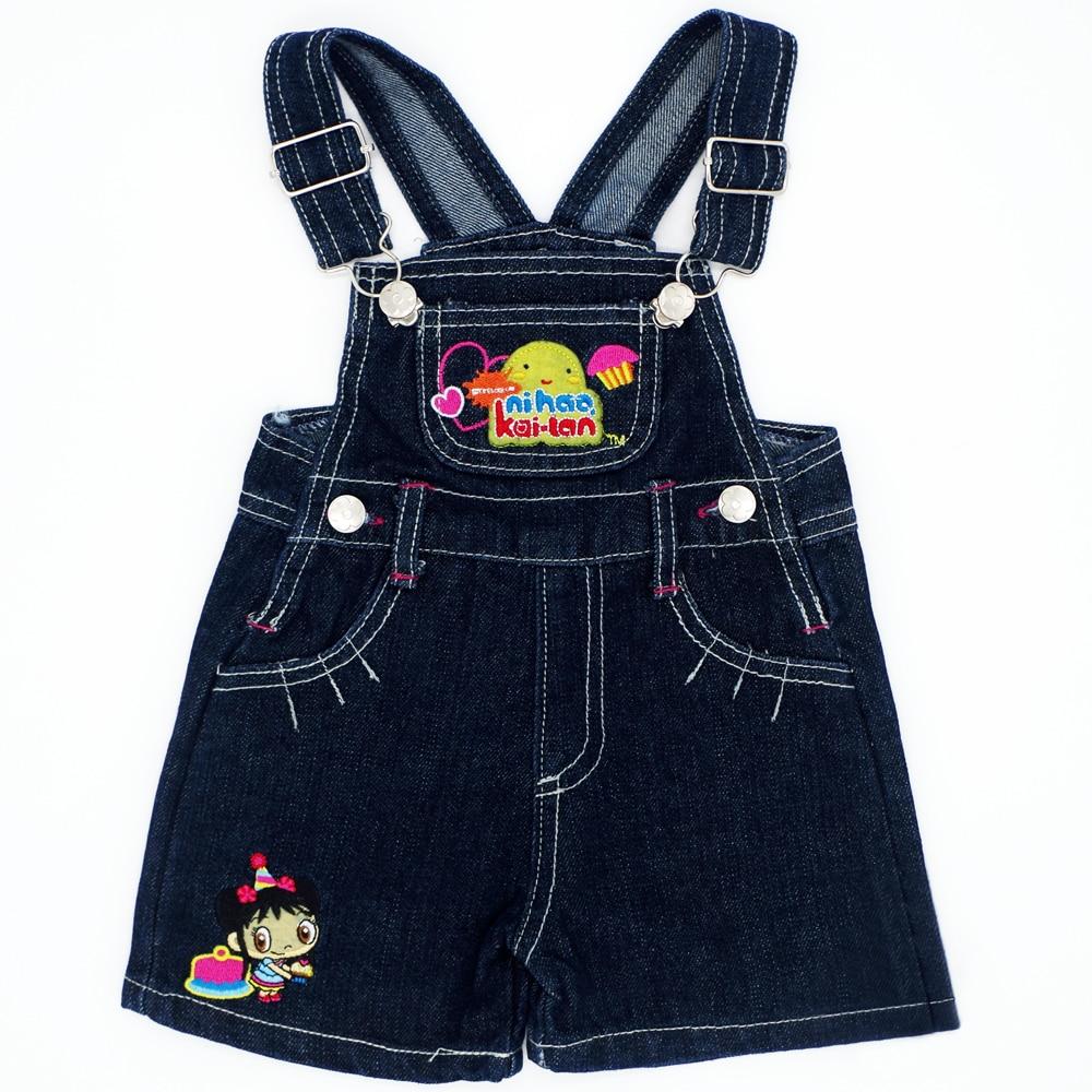 Lovely Pattern Random Color 4 Size Baby Girls Bib Pants Summer Children Sling Infant Jeans Kids Fashion Clothing JJYZ134