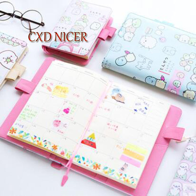 Creative Stationery Cartoon Notebook Planner Kawaii Japanese Ocean Baby Pink White Cover Stationery Creative Journal DD1962 silicone jigsaw pattern cover creative notebook red white green purple