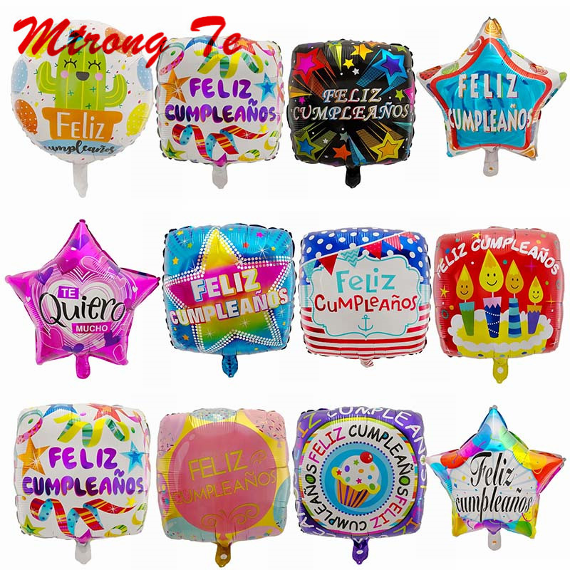 10pcs 18inch Spanish Happy Birthday Party Decoration Foil Balloons Feliz Cumpleanos Square Stars Helium Balls Baby Shower Globos