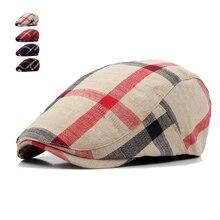 Berets-Caps Boina Hats Casquette Plaid Englad-Style Women Classic Cotton Unisex Casual