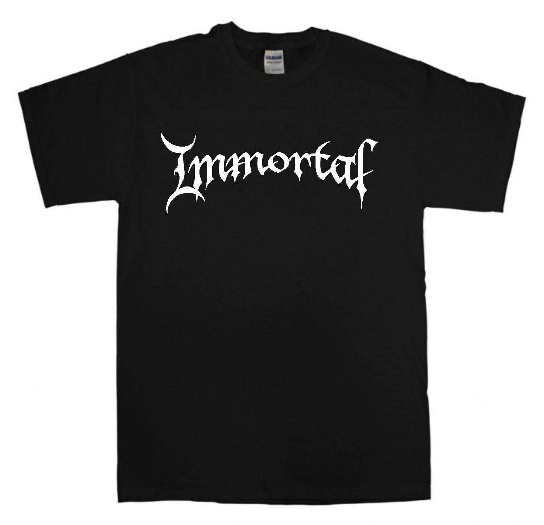 IMMORTAL 새 로고 블랙 티셔츠 S-XXL 블랙 메탈 밴드 T 셔츠 Darkthrone Mayhem Slim 반소매 T 셔츠 Men Top Tees