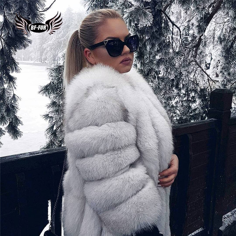 BFFUR Outerwear Womens Real Fur Coat 2019 Genuine Leather Natural Jacket Ladies Tops Fashion Medium Winter Coat Whole Skin Solid