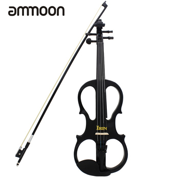 4/4 Electric Violin Fiddle Stringed Instrument with Wood Maple Ebony Fittings Cable Headphone Case for Music Lovers Beginners