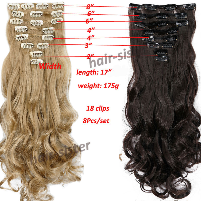 S Noilite Synthetic Clip In Remy Hair Extension Long Curly 24 170g