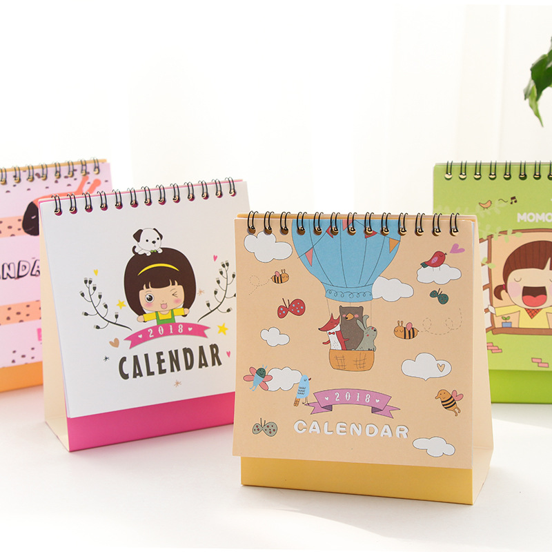New 2018 Cute Girl and Animal Calendars Mini Table Calendars desk planner calendar  2017,9~2018,12