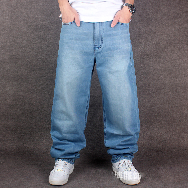 Men Light Blue Baggy Jeans Hiphop Mens Streetwear Skateboarder Denim Pants Loose Fit New 2016 Hip Hop Plus Size 42 44 46  hip hop jeans for men 2017 new fashion light blue baggy jeans skateboarder denim pants free shipping