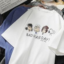 Korean Cartoon T-Shirt  Snoopy Print Plus Size Womens Clothing Casual Short Women Tshirt