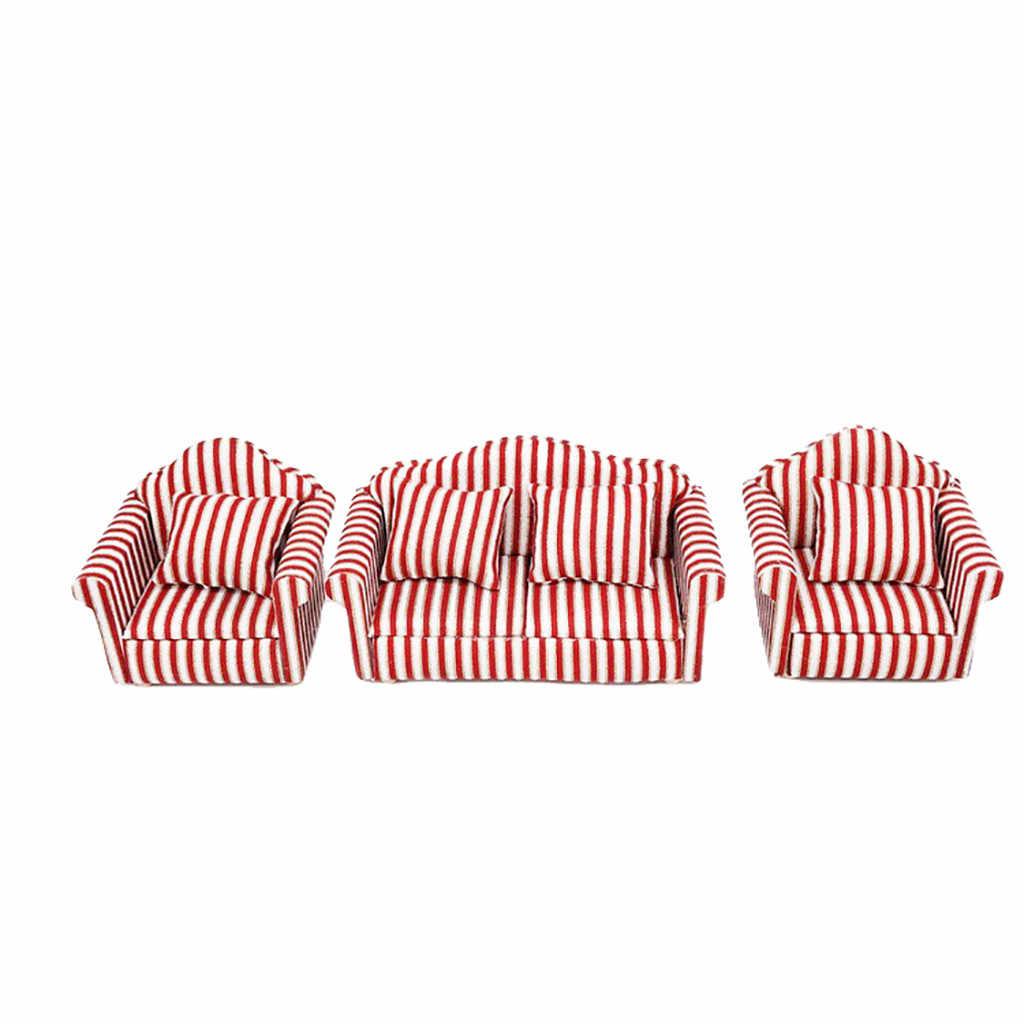 1 مجموعة رائعة لطيف دمية مصغرة 1:12 الأثاث مصغرة طقم أريكة المعيشة غرفة الاطفال مسرحية لعبة مصغرة C624