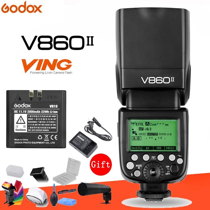 Godox Винг V860II V860II-N 2,4 г GN60 E-TTL HSS 1/8000 s камера с литий-ионным аккумулятором Вспышка Speedlite для цифровых зеркальных фотокамер Nikon + подарочный компл...