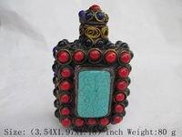 Chiński starożytny Tybet miedzi multicolor. turkusowy tabaka butelki