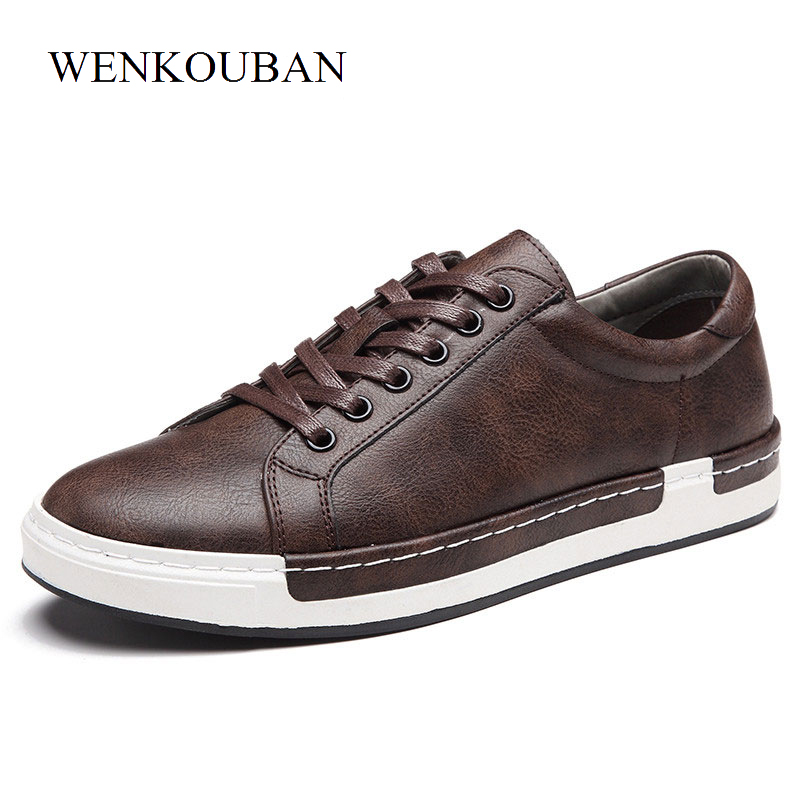 Luxury Men Sneakers Black Brown Lace Up Flats Male Casual Shoes Comfortable PU Leather Loafers Plus Size 38-46 Chaussure Homme black lace up pu obi belt