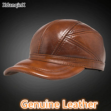 XdanqinX Genuine Leather Hat Autumn Winter Men's Cowhide Baseball Caps With Ears Adjustable Size Fashion Brands Hat Snapback Cap unique artificial leather adjustable snapback hat