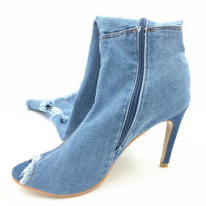 Image 4 - ג ינס כחול Botas נשים ירך גבוהה מגפי חורף דק גבוהה עקבים נשים ג ינס מעל הברך מגפי פיפ בוהן נעלי Zapatos דה Mujer 2020