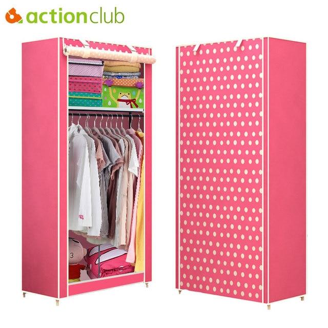Actionclub นักเรียนผ้าตู้เสื้อผ้าชุด DIY ASSEMBLY ตู้เสื้อผ้าพับเดี่ยวตู้เก็บฝุ่นขนาดเล็ก Closet