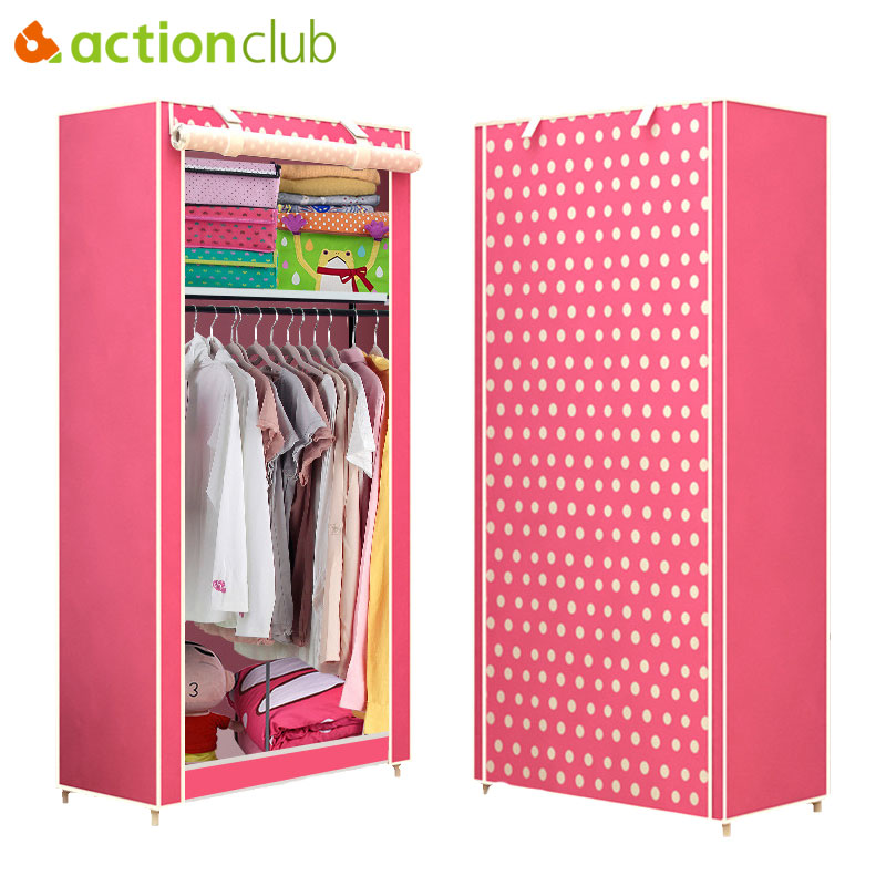 Actionclub Simple Student Cloth Wardrobe Combination DIY Assembly Wardrobe Folding Single Storage Cabinet Dustproof Small Closet the new cloth wardrobe simple reinforcement of low housing assembly large folding cloth