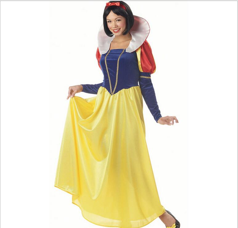 Plus Size 4XL Adult Snow White Costume Carnival Halloween Costumes For Women Fairy Tale Clothes Dress Female
