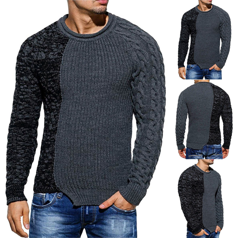 Autumn Winter Men's Sweater Coat Fashion Men's Pullover Knitted Raglan Patchwork Sweater Blouse Top кофта женская свитер женский