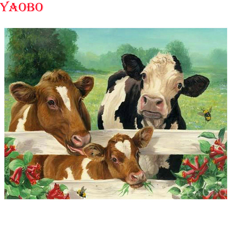 Full Square/round Diamond Embroidery Animal Cow 5D Diamond Cross Stitch Rhinestones Decorative Diy Diamond Painting Mosaic Kit