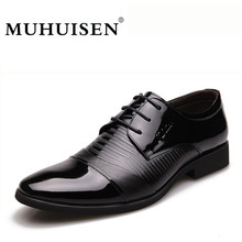 New Luxury Men Dress Formal Shoes Fashion Genuine Leather Lace Up Flats Oxford Shoes Male Casual Business Wedding Shoes MUHUISEN