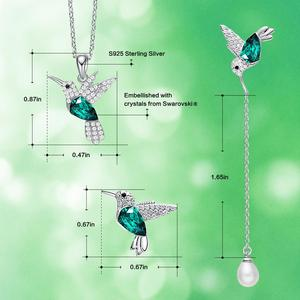 Image 4 - Cdyle 925 Стерлинговое Серебро, женское украшение, ожерелье и серьги в виде Колибри с кристаллом, подходит для вечернего платья, ювелирные изделия