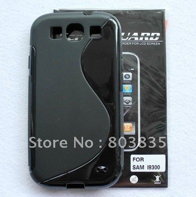free shipping S Line TPU Gel Black Case + Screen Protector for Samsung Galaxy S3 I9300