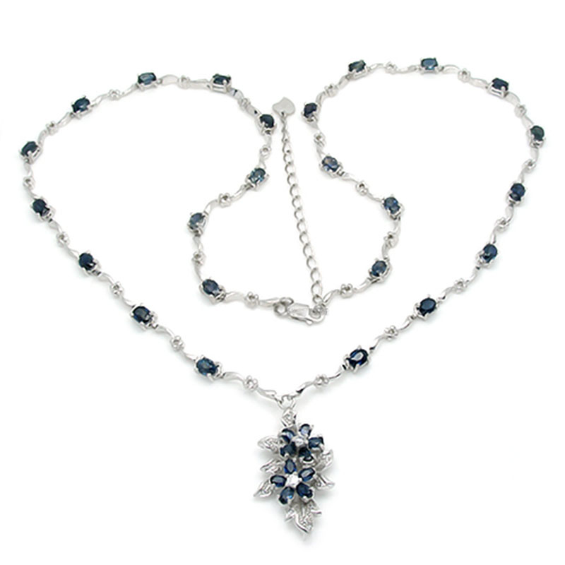 2017 Collier Qi Xuan Dark Blue Stone Элегантная подвеска Necklace Real Necklace Quality guaranted производитель прямых продаж