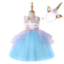 Unicorn headband Party Girls Dress Elegant Cinderella Elsa Costume Summer Wedding Dresses For Kids Moana Vestidos