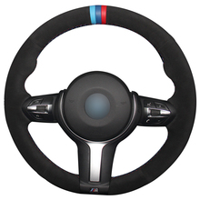 Hand sewing custom Black Suede with Light Blue Red Marker Steering Wheel Cover for BMW F87 M2 F80 M3 F82 M4 M5 F12