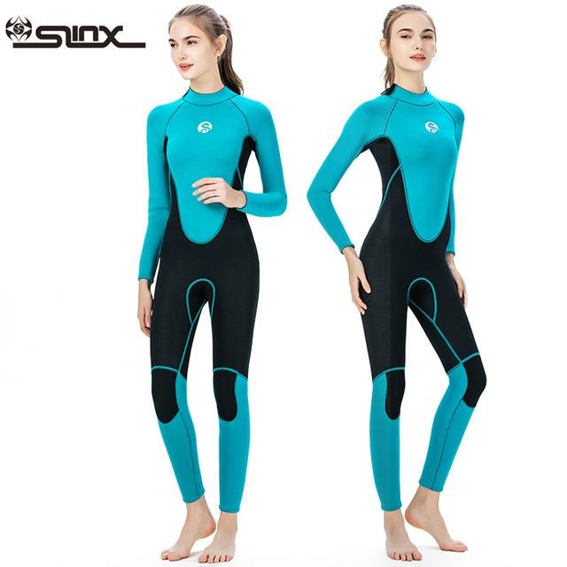 SLINX 3mm Neoprene Women Full Body Wetsuits Scuba Diving Surfing Snorkeling Spearfishing Swimsuit Sunscreen Keep Warm