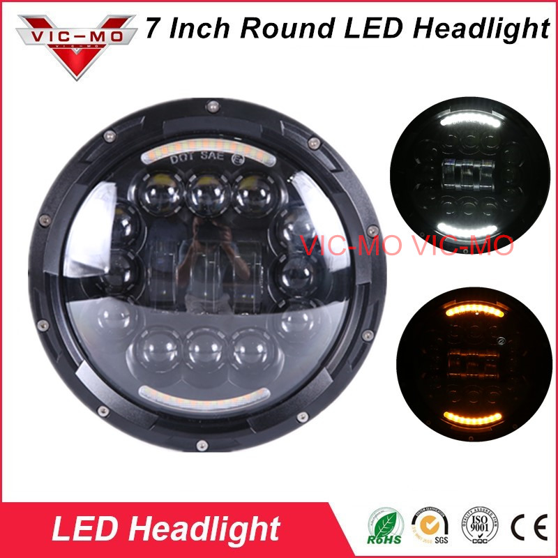 7Inch Round Projection Daymaker Led Headlight DRL fit for Jeep Wrangler JK TJ LJ CJ Sahara Hummer H1 H2 Land Rover Defender high power 7inch round led headlight for jeep wrangler jk tj lj cj willys wheeler unlimited rubicon hummer land rover defender