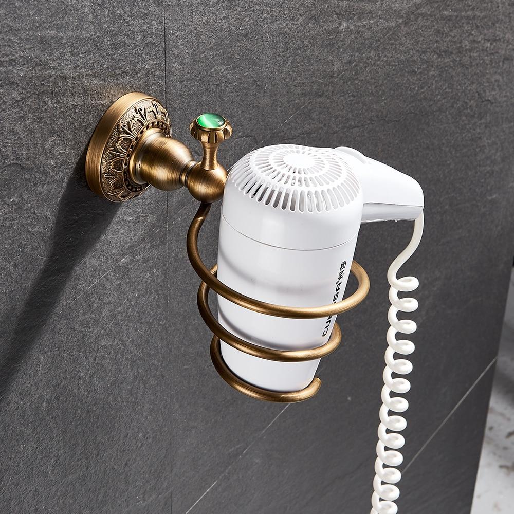 Bad Regale Antike Messing Wand Montiert Fön Halter Badezimmer Wand Regal Haartrockner Unterstützung Spirale Stehen Halter