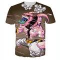 Nueva 3D Camiseta Hombres Majin Buu Camiseta Impresa 2016 Mens Historieta de la manera Impreso Slim Fit Tee Shirt Homme Elástica Camiseta de Los Hombres