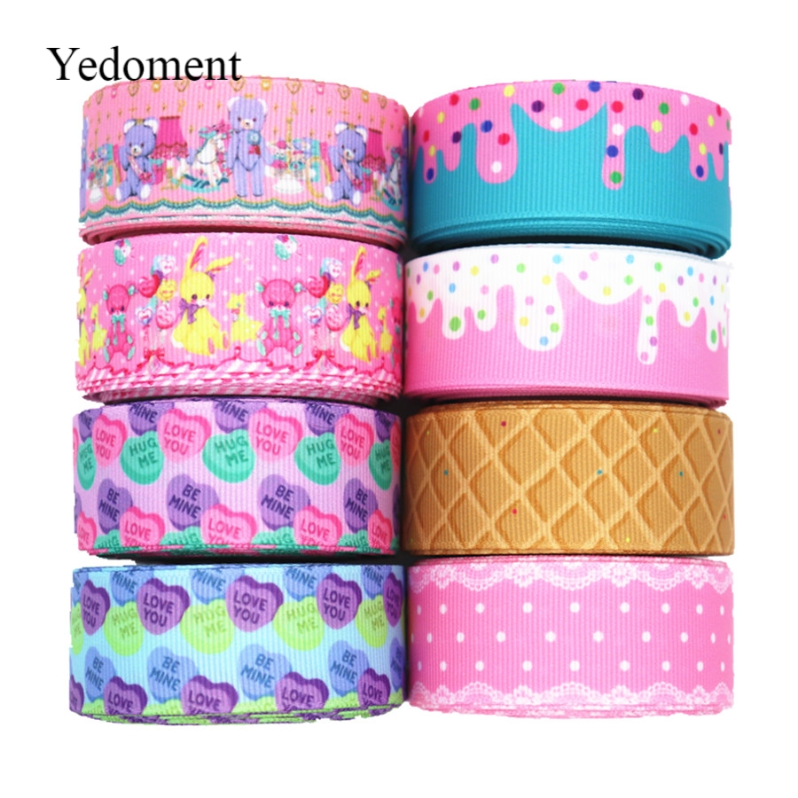 "10 Yards Grosgrain Ribbon Geometric Printed Ribbon 1"" 25MM For Hair Bows DIY Crafts Handmade Accessories M19040702"