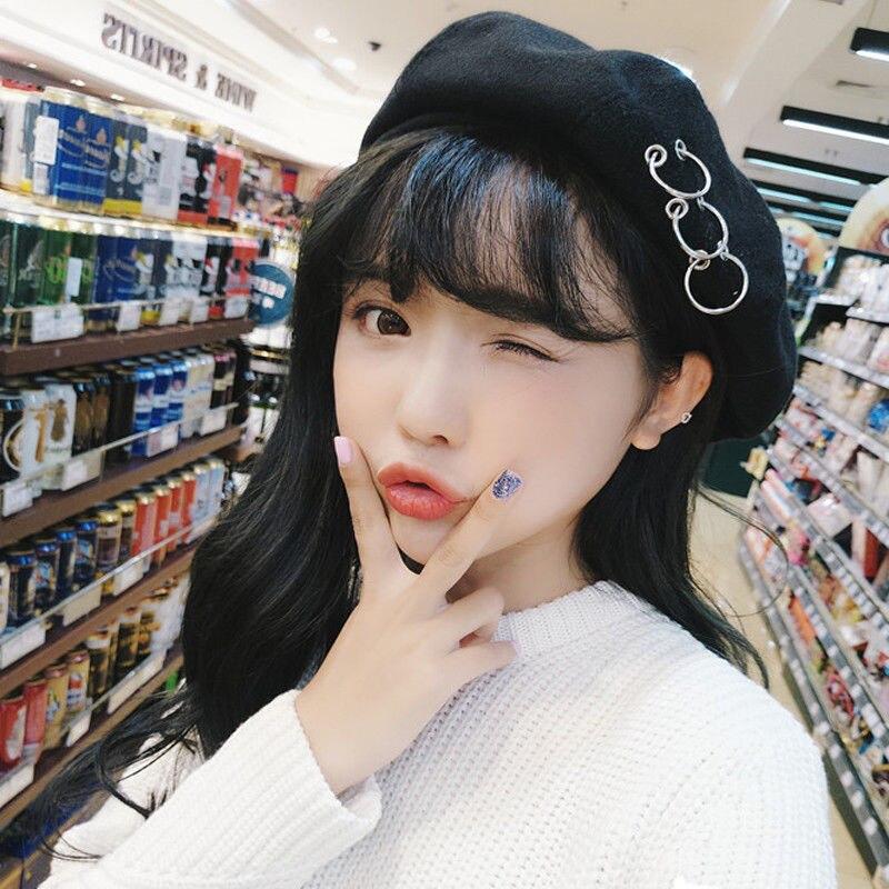 Hirigin Korean Style Hat Women Woolen Warm Beret Rings Punk Winter Warm Cap For 6 Colors