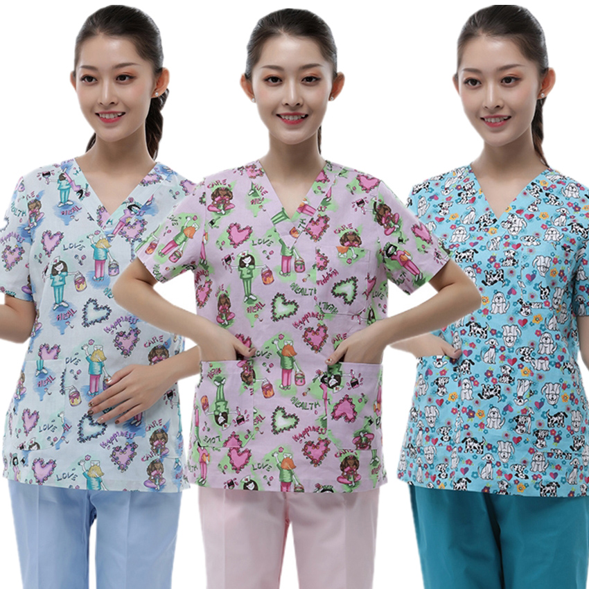 Free Logo Surgical Suit Medical Uniforms Lab Nurse Costume Solid Cartoon Print Clinical Uniforms Woman Dentist Pet Lovely Print