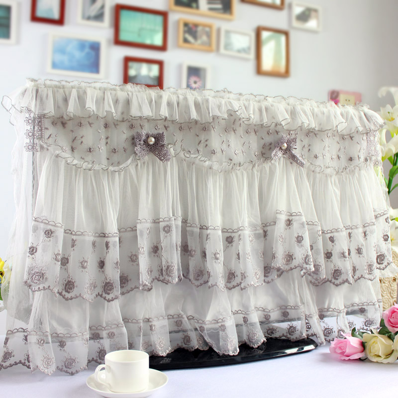 32 -55 inch TV Cover Decorative Hood Decoration Lace Curtain Decor for Flat Scre