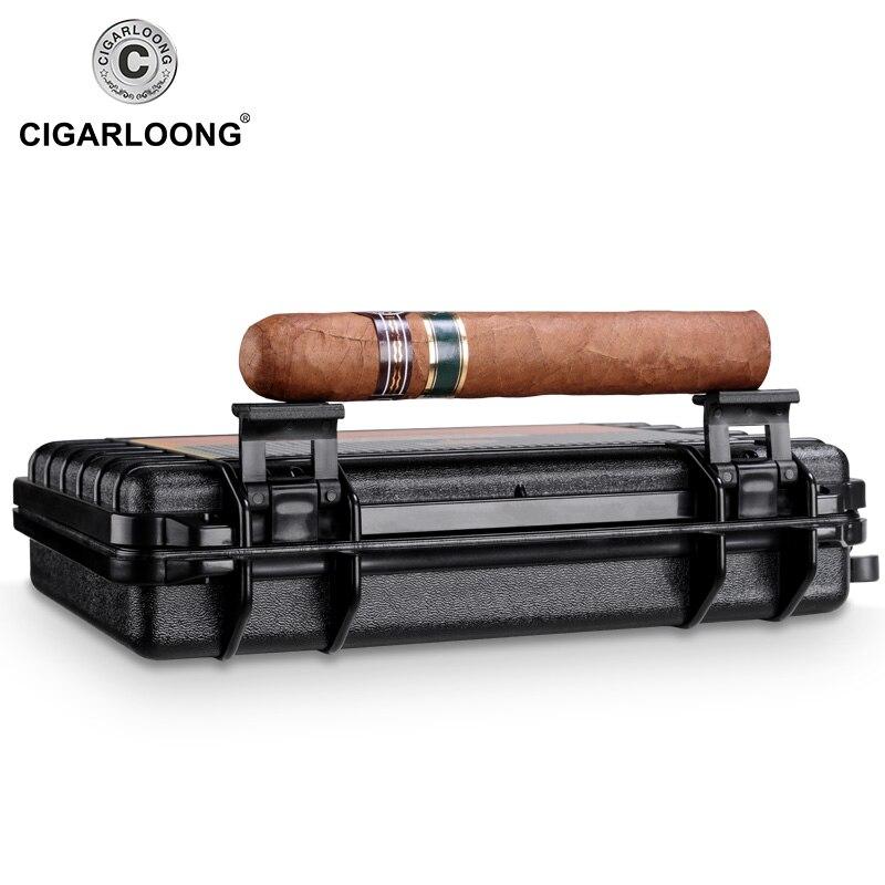 Travel Humidor Cigar Box Cedar Wood Portable Cigar Case Jar W Humidifier Hygrometer Humidor Box Fit 5 Cuba Cigars CLA B0051 in Cigar Accessories from Home Garden