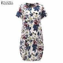 Горячие Продажи 2017 Summr ZANZEA Женщины Урожай Цветочные Печати Dress С Коротким Рукавом Свободные Повседневная Midi Sexy Dress Vestidos Плюс Размер