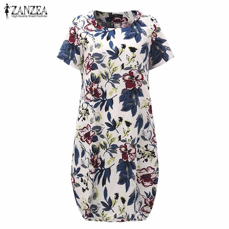 Buy Cheap Hot Sale 2017 Summr ZANZEA Women Vintage Floral Print Dress Short Sleeve Loose Casual Midi Sexy Dress Vestidos Plus Size